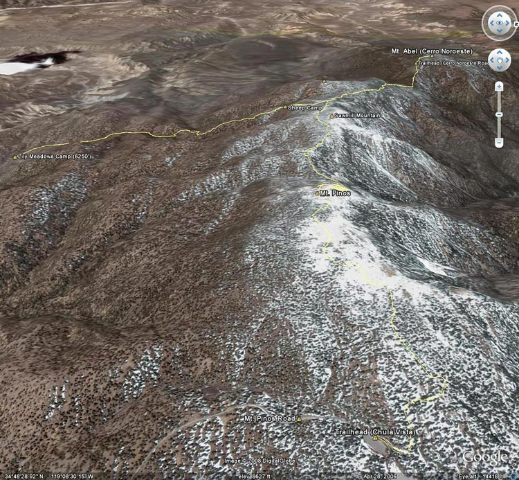 Google Earth image of a GPS trace of my Mt. Pinos thunderstorm run from the Chula Vista trailhead to over Mt. Pinos to Sheep Camp, Lily Meadows Camp, Mt. Abel and back.