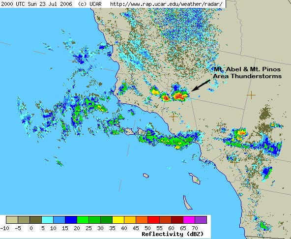 UCAR NEXRAD radar image of Mt.Abel-Mt.Pinos thunderstorms.
