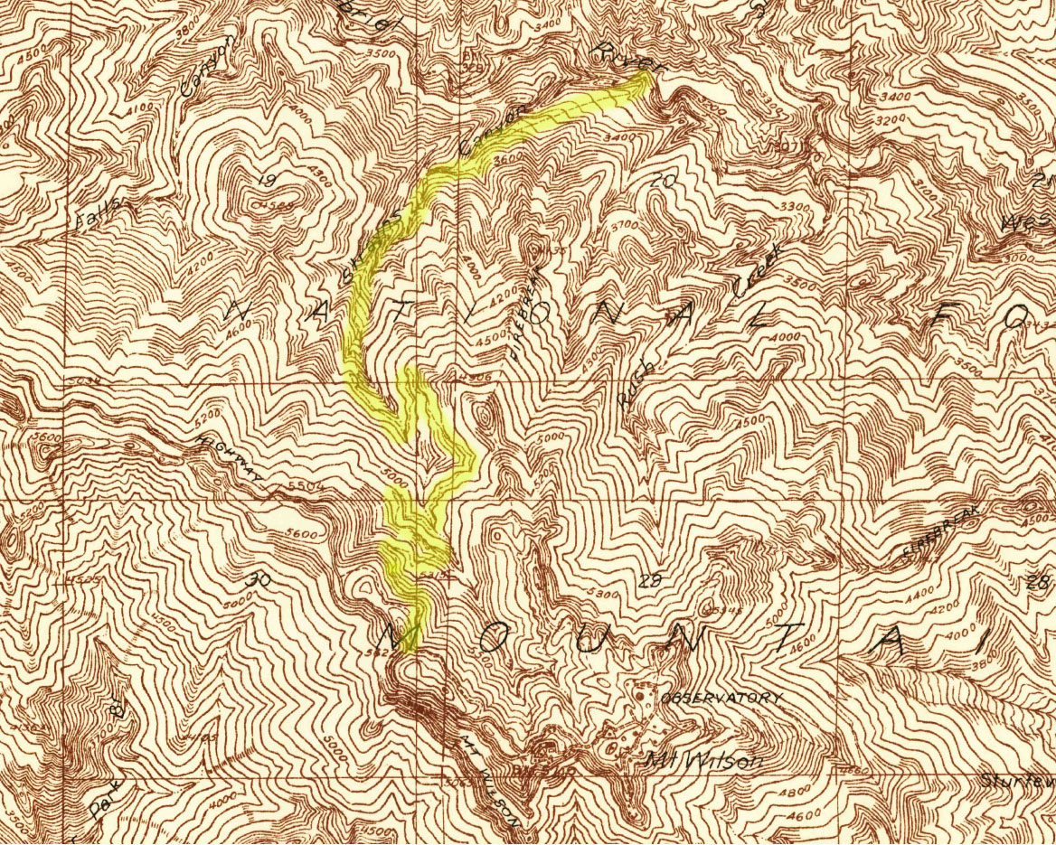 A section of the 1:24000 1934 Mt. Wilson Advance Sheet with the trail between the West Fork San Gabriel River and Mt. Wilson along Strayns Creek  highlighted.