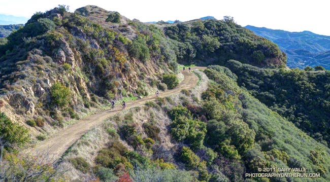 Mountain bikers on the Etz Meloy Motorway segment of the Backbone Trail in the Santa Monica Mountains, near Los Angeles.