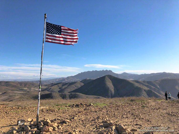 Summit of Mugu Peak in Pt. Mugu State Park. Boney Mountain in the distance.