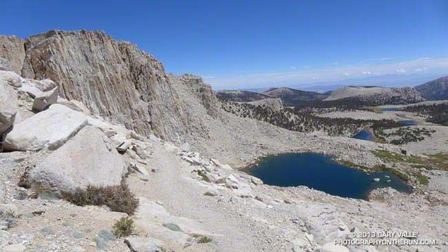 View east past High Lake from the switchbacks below New Army Pass
