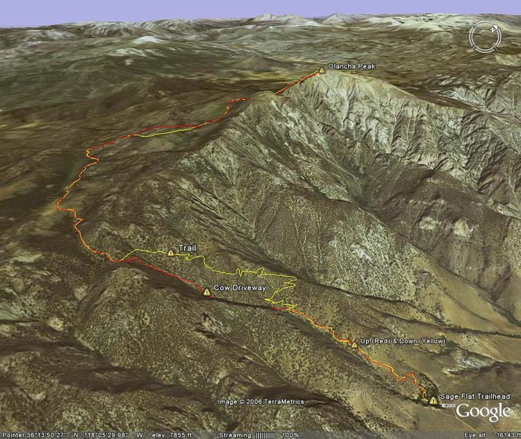Google Earth image of my route up (red) and down (yellow) Olancha Peak.