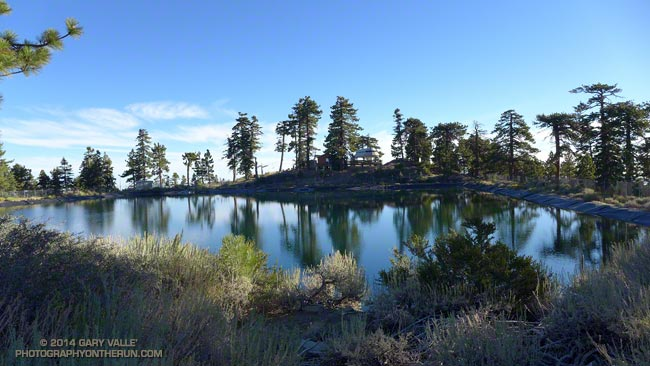 Pacific Crest Reservoir, a snow-making pond at Mountain High Resort in the San Gabriel Mountains