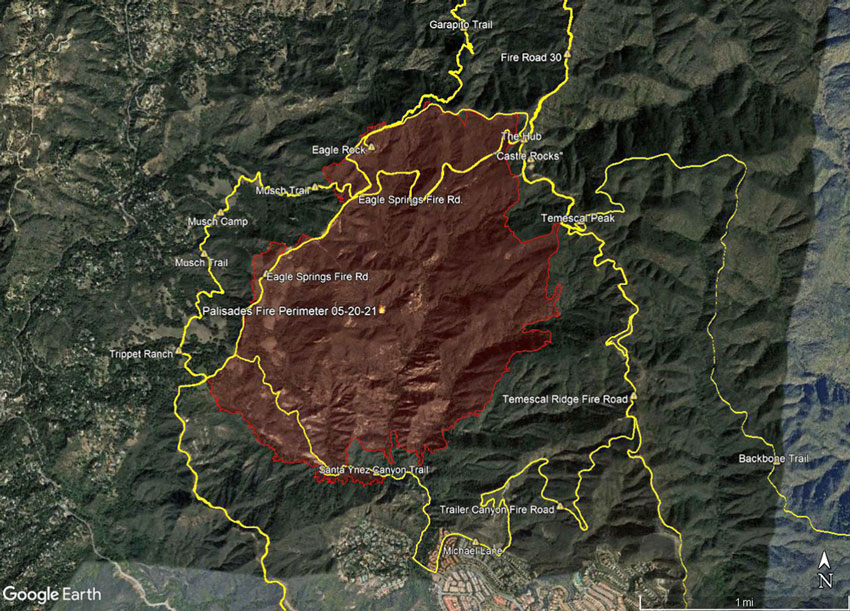 Palisades Fire Perimeter and Some Area Trails