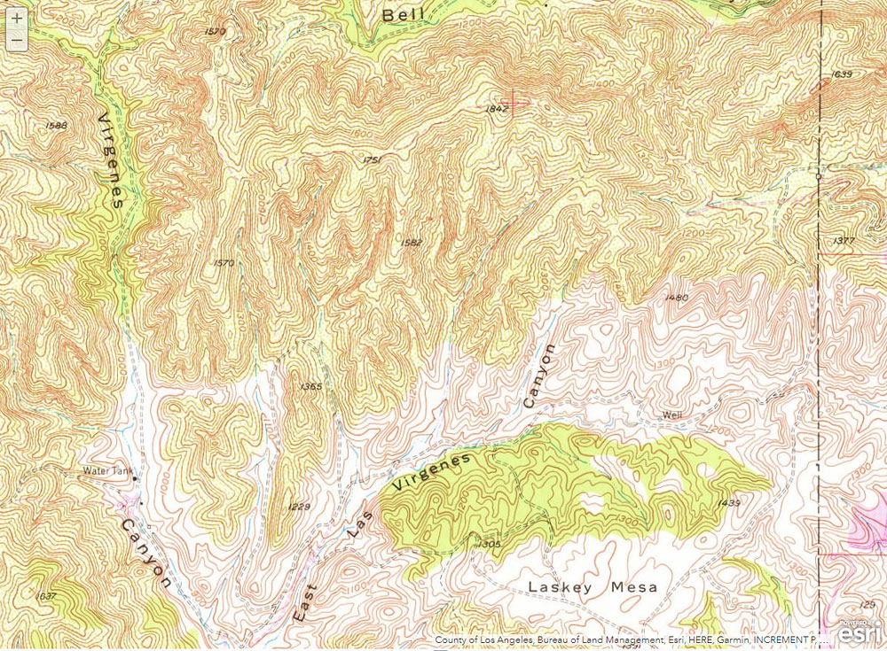A section of the traditional USGS 7.5 minute Calabasas topo showing peak 1842, the highest point on the Ahmanson Ranch property. The map was obtained from the USGS Historical Topographic Map Explorer.