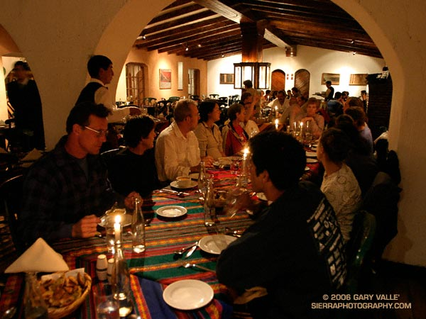Dinner at a restaurant in Yucay, Peru.