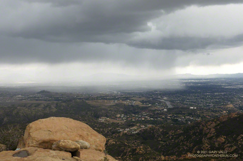 Rain in the San Fernando Valley from Rocky Peak. March 12, 2021.