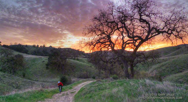 Mountain biker and sunset at Ahmanson Ranch.