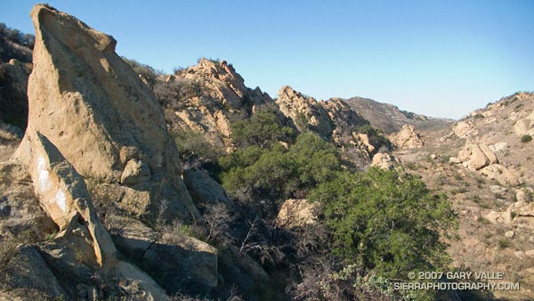 Sandstone formations on trail run in the Simi Hills