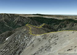 Google Earth image of GPS track down the South Ridge of Mt. Baden-Powell to Ross Mountain