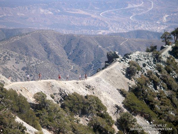 Runners Descending the Devil's Backbone on Mt. Baldy