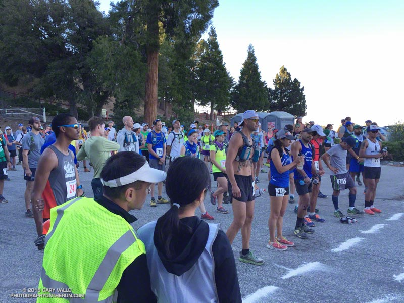 Runners on top of Mt. Wilson waiting for the start of the 2015 Mt. Disappointment 50K & 25K endurance runs.