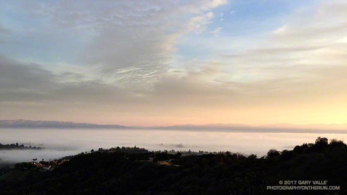Low clouds and fog in the San Fernando Valley from the trail connecting the Top of Reseda (Marvin Braude Mulholland Gateway Park) to Mulholland fire road.