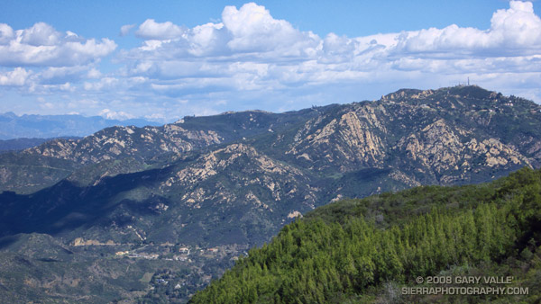 Saddle Peak from the Backbone Trail, in the Santa Monica Mountains, near Los Angeles. Mt. Baldy can be seen in the distance.