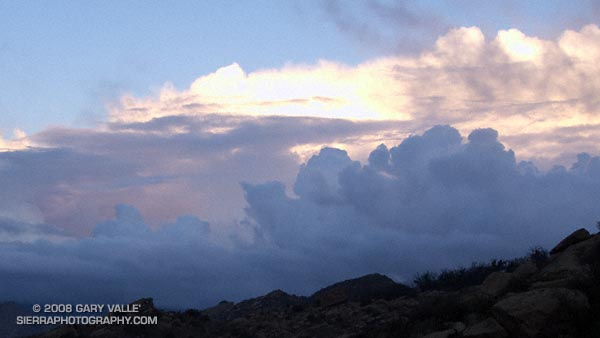 Clearing clouds, northwest of Los Angeles, following the passage of an upper low storm system that resulted in widespread rainfall in Southern California.