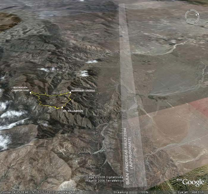 Google Earth image of San Andreas Fault Zone and Pleasant View Ridge.