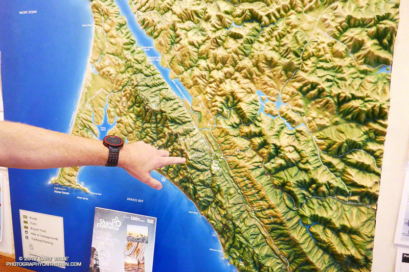 The relief map in the Bear Valley Visitor Center in Point Reyes National Seashore clearly shows the San Andreas Fault Zone. Brett is pointing to Mt. Wittenberg, which we passed on our way to the coast.
