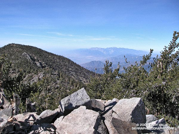 San Bernardino Peak and the Mt. Baldy area from the summit of East San Bernardino Peak.