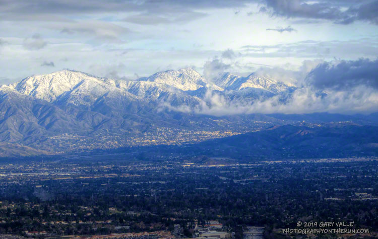Snow-covered San Gabriel Mountains, from Rocky Peak. From left to right, the main peaks are Mt. Lukens, Mt. Disappointment, San Gabriel Peak and Mt. Lowe. December 26, 2019.