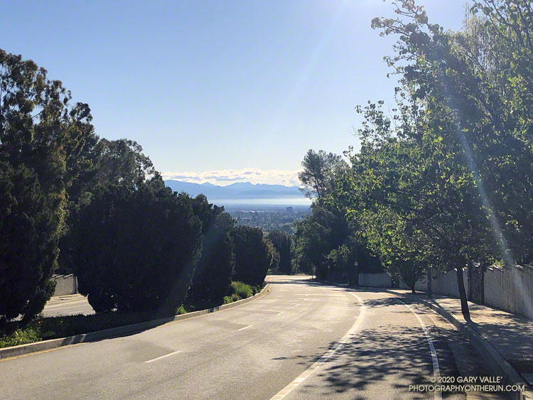 The San Gabriel Mountains and the San Fernando Valley from Victory Blvd., a little below the Upper Las Virgenes Canyon Open Space Preserve Trailhead gate. Because of its wordy name, many refer to the open space as