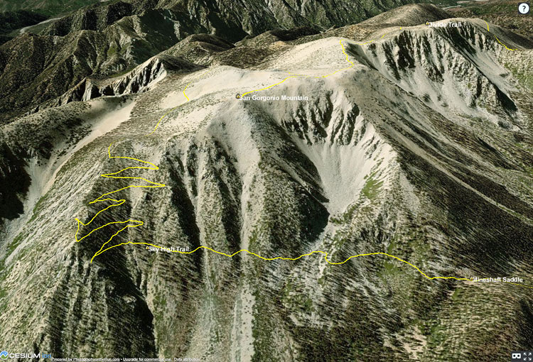 Cesium ion 3D view of San Gorgonio Mountain