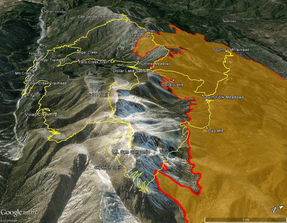 Google Earth image of view from east along the crest of the San Bernardino Peak Divide showing part of the area burned by the Lake Fire.
