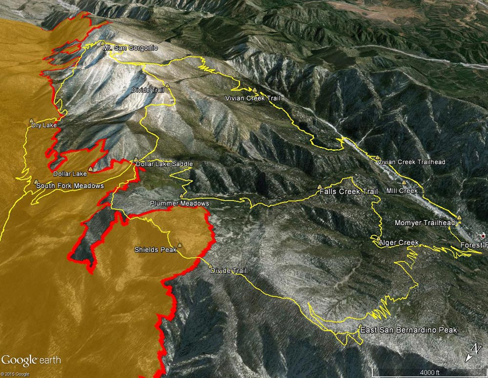 Google Earth image of view from west along the crest of San Bernardino Peak Divide showing part of the area burned by the Lake Fire.