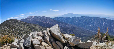 San Gorgonio Mountain and San Jacinto Peak from East San Bernardino Peak.
