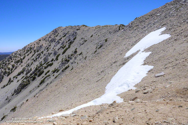 Snow patch at about 11,000' on San Gorgonio Mountain on June 9, 2018.