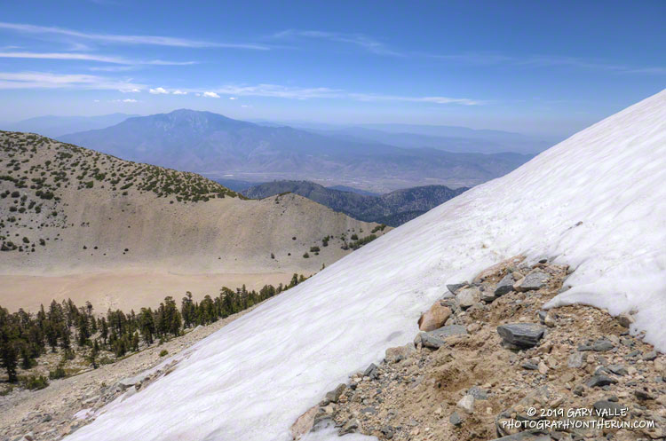 Snow on the Sky High Trail on San Gorgonio Mountain on July 27, 2019.