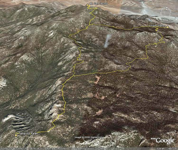 Google Earth image of the route to Mt. San Jacinto and Tahquitz Peak.