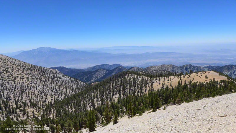 San Jacinto Peak and Banning Pass from the Divide Trail near the Vivian Creek Trail junction. The Silver Fire was about 50% contained and not producing much smoke. August 10, 2013.