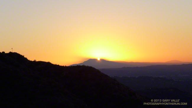 Sunrise behind San Jacinto Peak from the Mt. Wilson Trail.