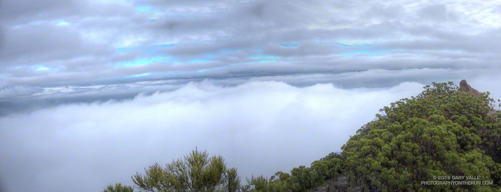 Layers of clouds from the summit of Sandstone Peak in the Santa Monica Mountains. January 10, 2016.