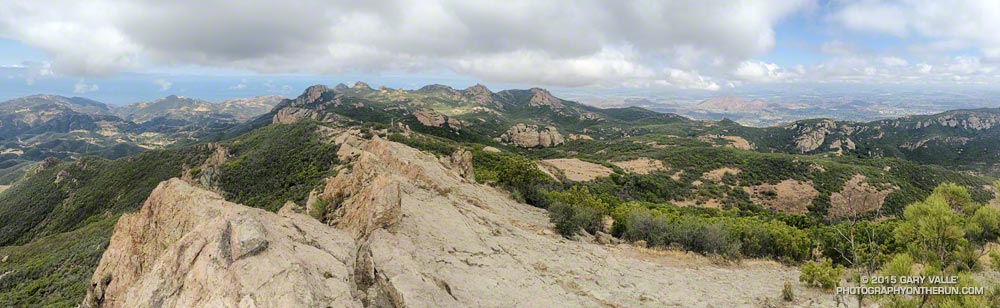 A panorama from the summit of 3111' Sandstone Peak, the highest peak in the Santa Monica Mountains.