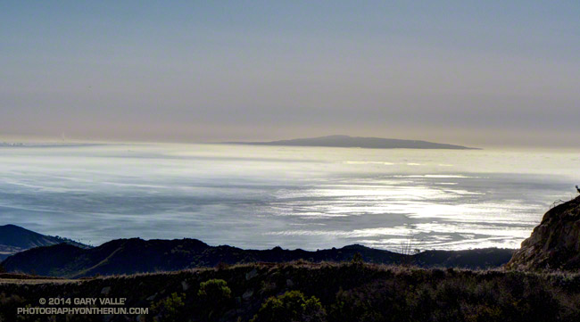 Windblown stratus on Santa Monica Bay with Palos Verdes Peninsula in the distance