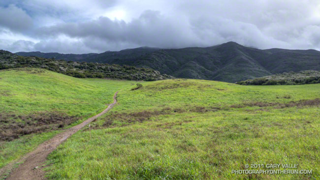 A segment of the Satwiwa Loop Trail south of the Chumash demonstration village. Boney Mountain is hidden in the clouds.