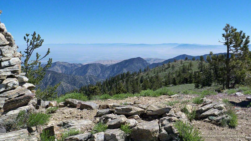 View northeast across the San Joaquin Valley to the Southern Sierra from the west summit of Sawmill Mountain, at the Chumash spirit tower.