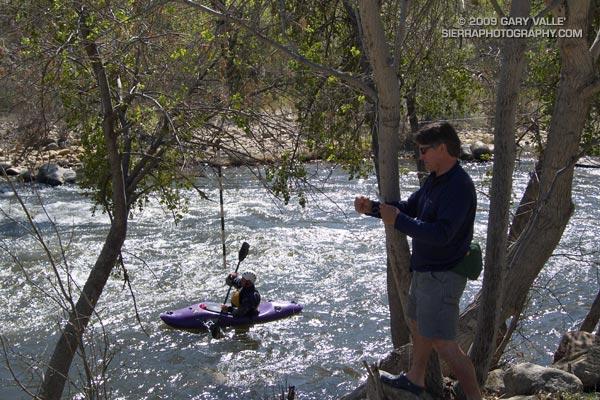 Bob and Joe adjusting slalom gates at Riverside Park