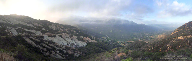 Cloud-shrouded Saddle Peak, Cold Canyon and Monte Nido from Calabasas Peak fire road in the Santa Monica Mountains.