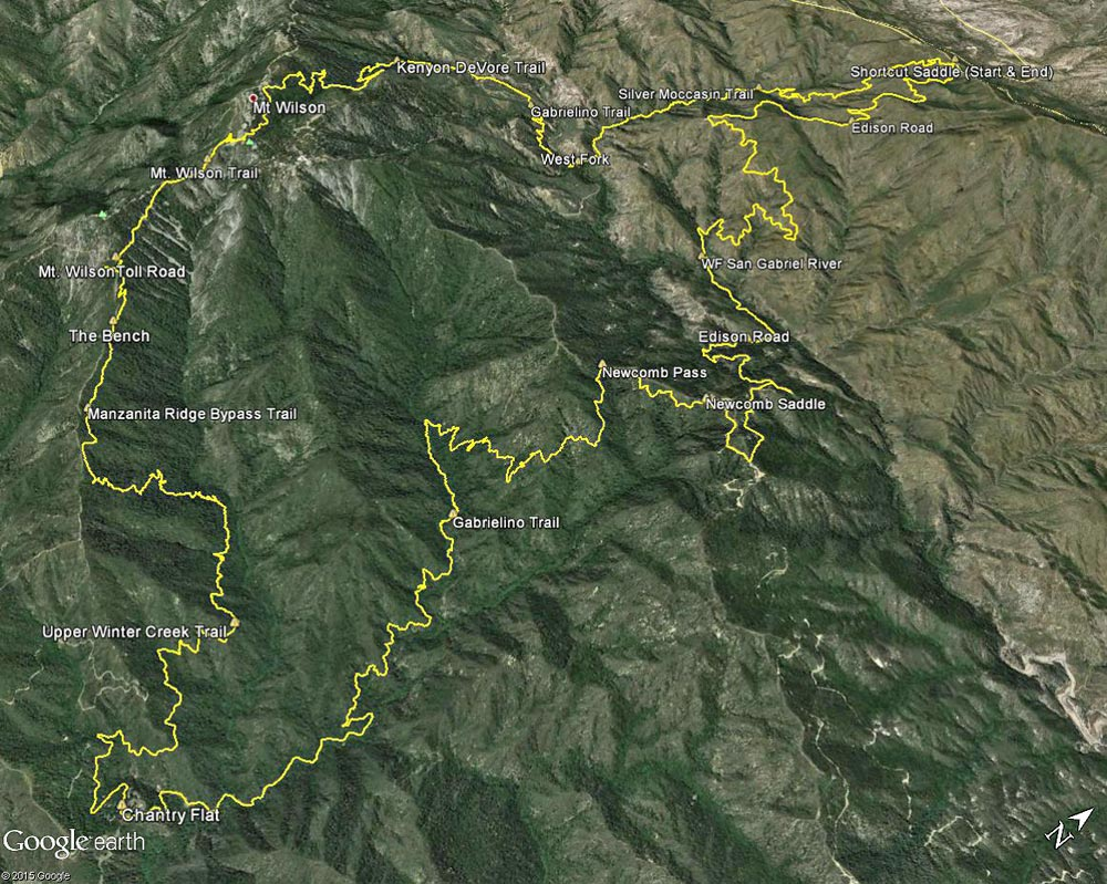 Google Earth image of my GPS track of the Shortcut - Chantry - Mt. Wilson Loop in the San Gabriel Mountains. Placemark locations are approximate.