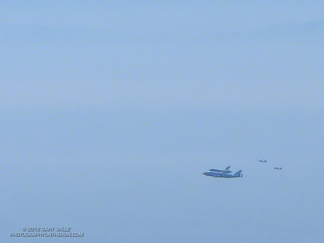Space Shuttle Endeavour on NASA's 747 Shuttle Carrier Aircraft over the Pacific near Malibu