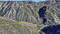 Google Earth image of my track down the Camp Creek Trail to Bear Creek and up the Siberia Creek Trail