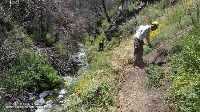 Trail work on the Silver Moccasin Trail in Shortcut Canyon