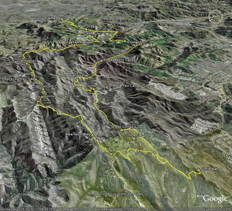 Google Earth image of a GPS trace of a run from the Victory trailhead of Upper Las Virgenes Canyon Open Space Preserve to Simi Peak.