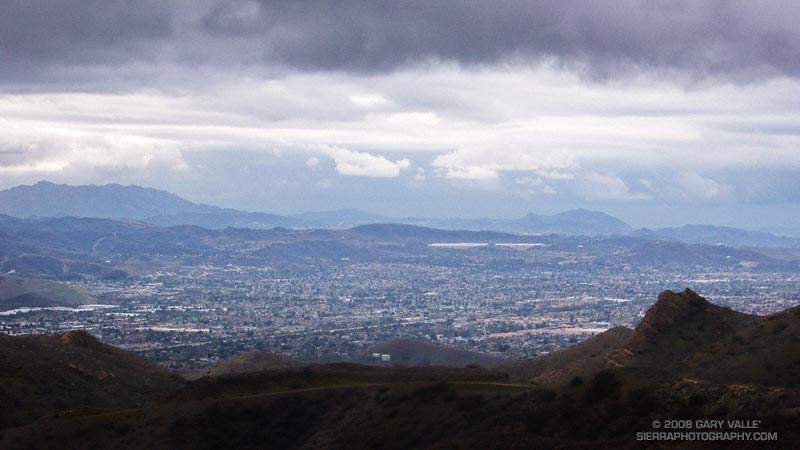 Stormy view of Simi Valley, California, from Rocky Peak Road.