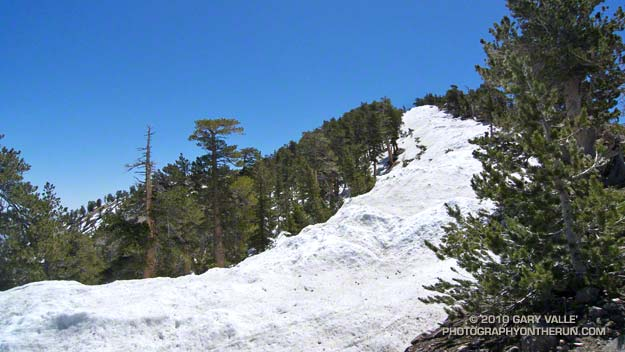 Snow deposited by southerly winds on the lee side of the ridge leading to the summit of Mt. Baden-Powell during this season's storms.