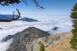 South Ridge of Mt. Baden-Powell with Ross Mountain partially visible in the clouds