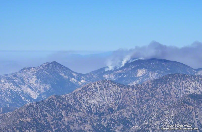 Station Fire burning on the south slopes of Waterman Mountain the morning of September 7, 2009. Photo is from the top of Mt. Baldy.